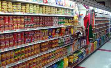 Dog food on display in supermarket