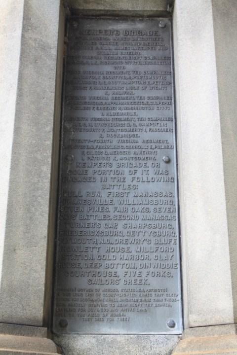 A plaque honoring Kemper's brigade.