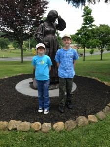 My niece, Abby and nephew, Nathan in front of the statue of Elizabeth Thorn.