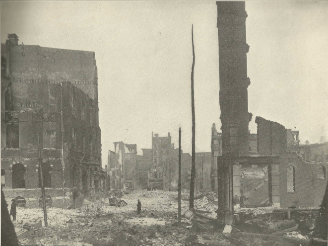 The corner of Hopkins Pl. and Lombard St. The fire started here.
