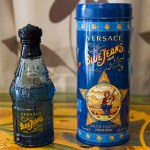 The bottle and tin of Blue Jeans from Versace.