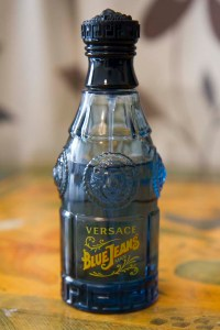 A closeup of Blue Jeans by Versace.