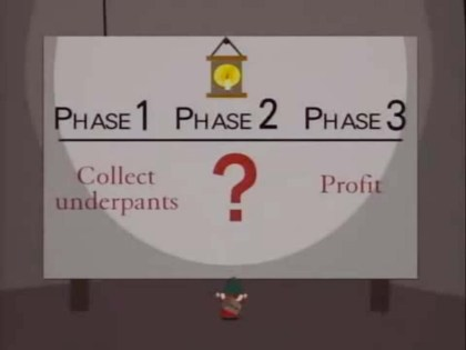 Underpants gnomes explain their three stage process to profit.