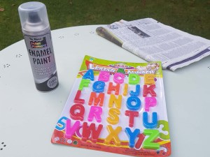 Items needed to make your magnetic silver letters