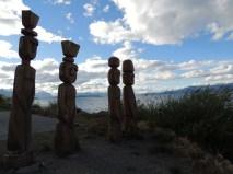 Carved wooden figures beside Lago Nahuel Huapi