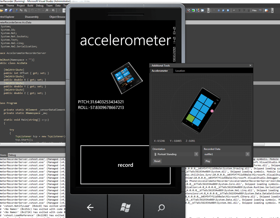 wp7 record your own accelerometer data for testing – Pete D