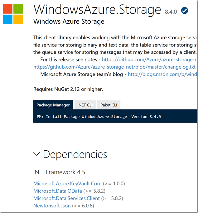 Azure Storage SDK dependencies