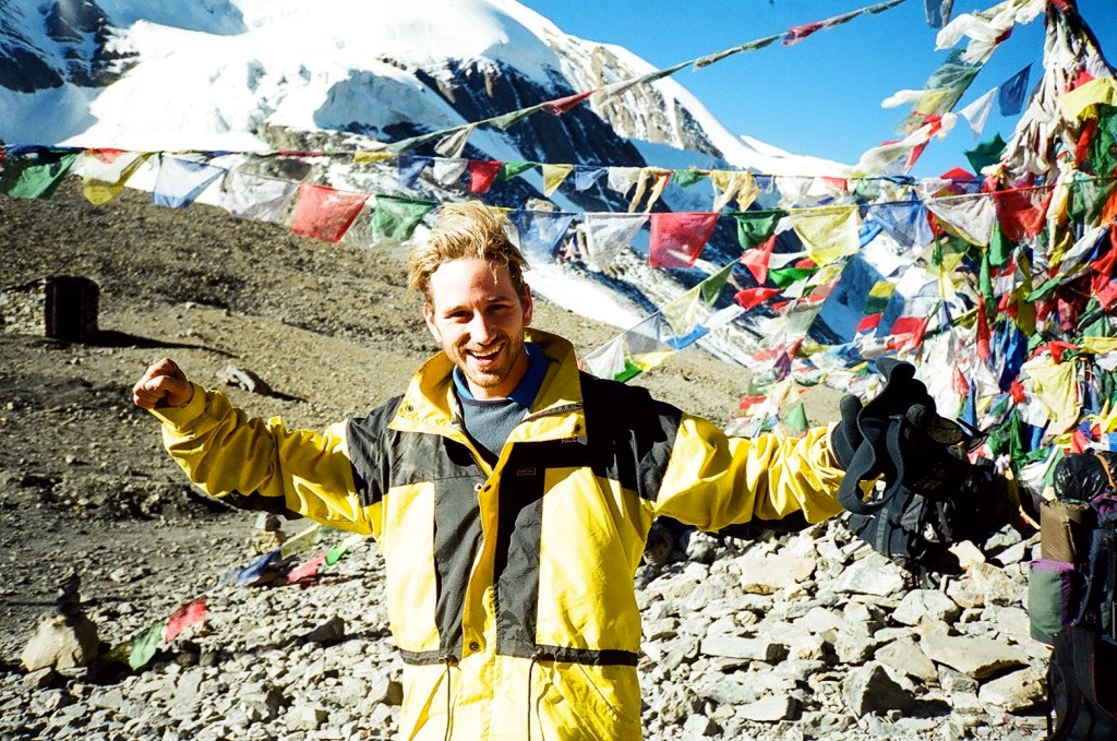 Peter Liptak at Thorong La, Nepal at 5,416 metres