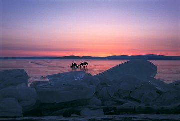 A horse pulls a sled on a frozen lake in Mongolia underneath a pink sky. Photo by conservation photographer and travel photographer Pete Oxford.