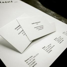 Käyntikortit ja kirjelomake, painettu 100% Cotton -paperille.
