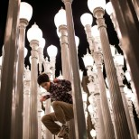"""Thought process: """"boy, these lamps are tall! How am I going to get both me and them in frame?"""" LACMA, Los Angeles, CA"""