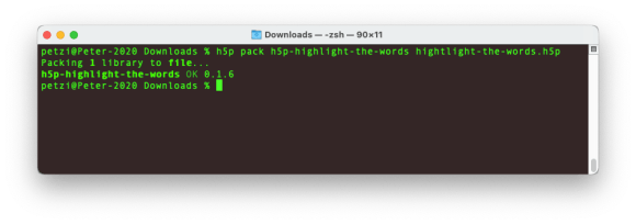 H5P Library Installation Step 9: Terminal screenshot: Packing library with the h5pcli tool.