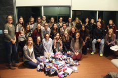Everyone in FCA after collecting socks for the homeless shelter
