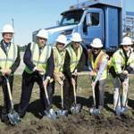 Shown here during the ground-breaking ceremony are (from left to right): Ron Augustyn, Peterbilt Denton Plant Manager; Leon Handt, Peterbilt Assistant General Manager of Operations; Darrin Siver, Peterbilt General Manager and PACCAR Vice President; Denton Mayor Chris Watts; Denton Assistant City Manager Jon Fortune; Jeff Sanders, Hill & Wilkinson Executive Vice President; Jared Ricker, Hill & Wilkinson Senior Project Manager; and Kirk Woltman, Hill & Wilkinson Vice President. Hill & Wilkinson is the contractor working on the expansion.