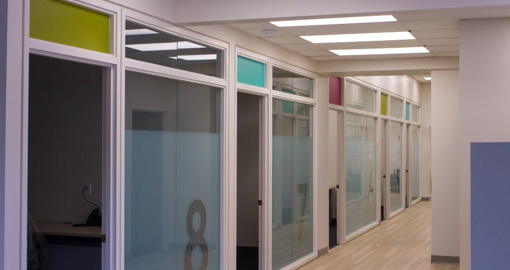 colourful coworking hallway