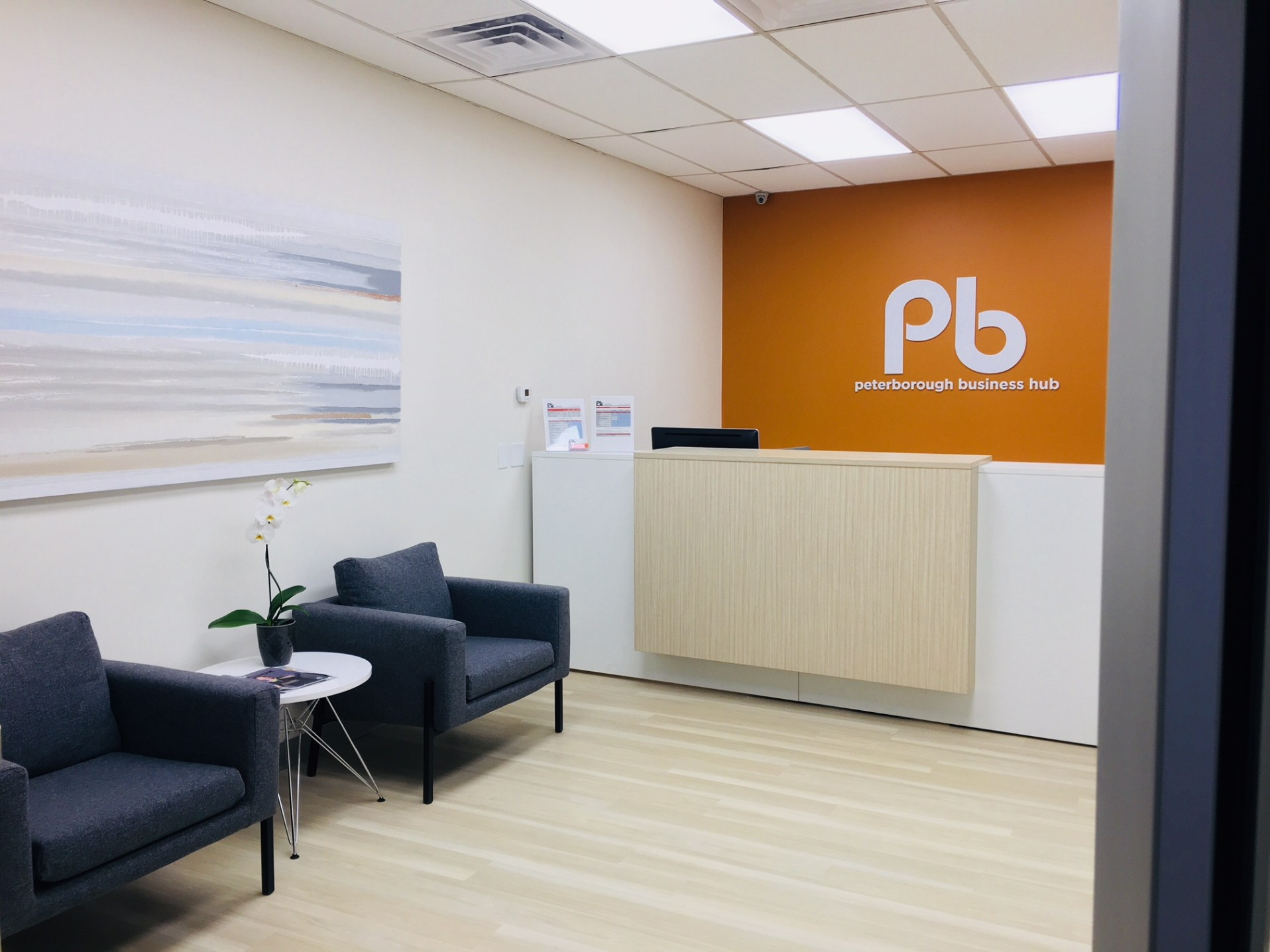modern reception waiting area Peterborough rental office