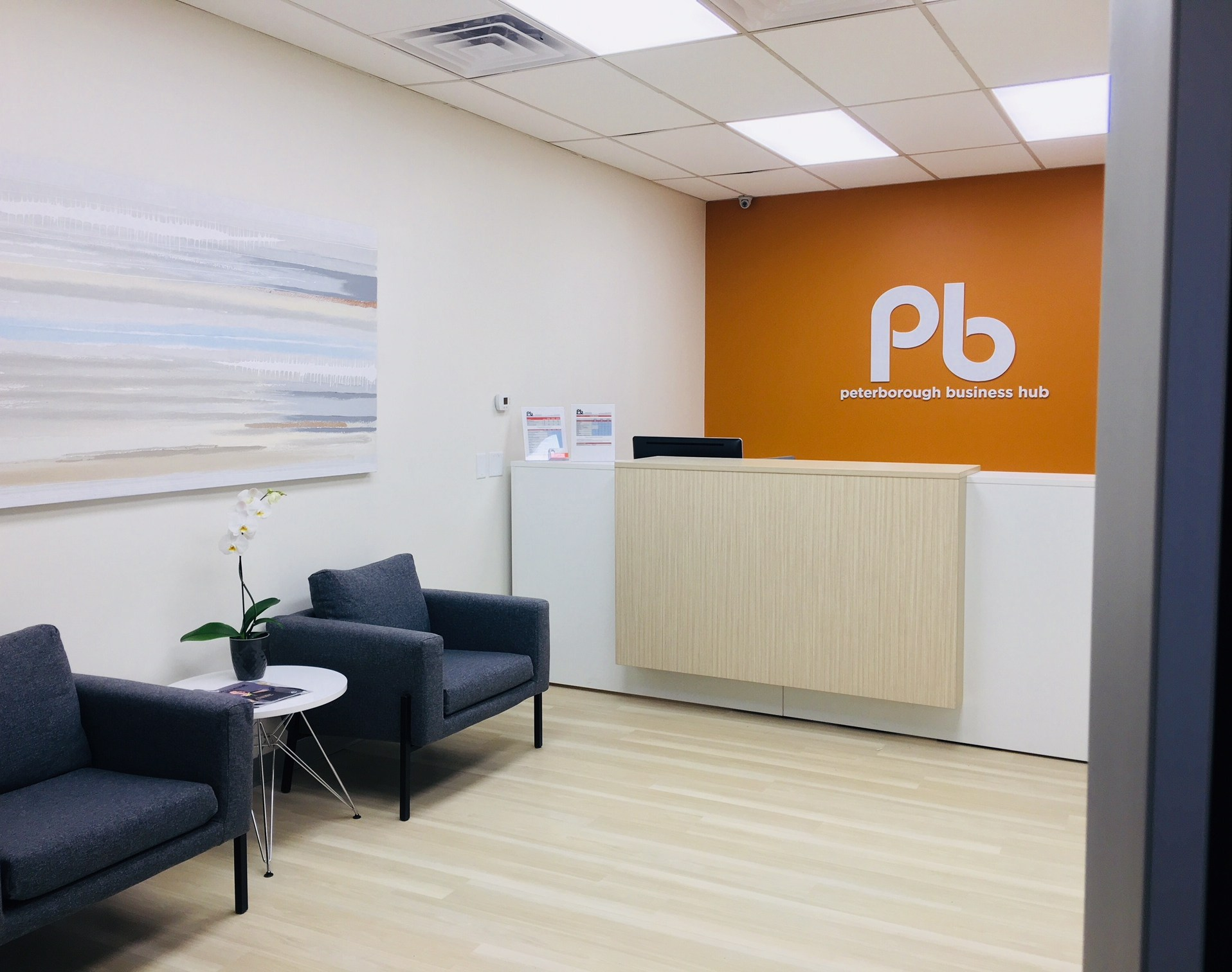 modern reception waiting area Peterborough rental office