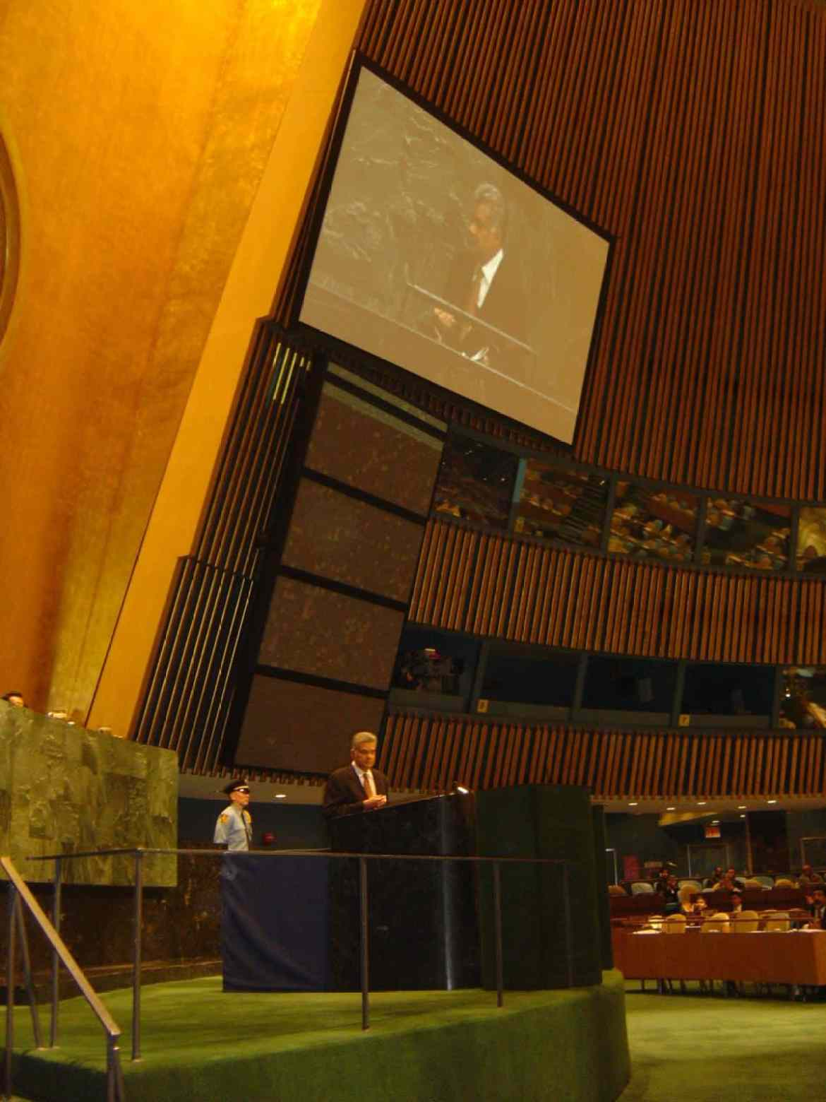 Sri Lankan Prime Minister speaking at the United Nations