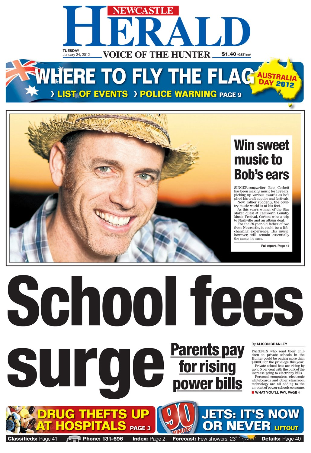 Peter Bower - Bob Corbett The Herald front page