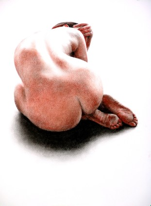 Conte, compressed charcoal