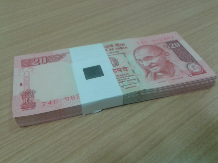 brick of 20 rupee notes