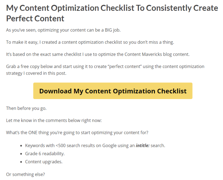 content mavericks checklist lead magnet