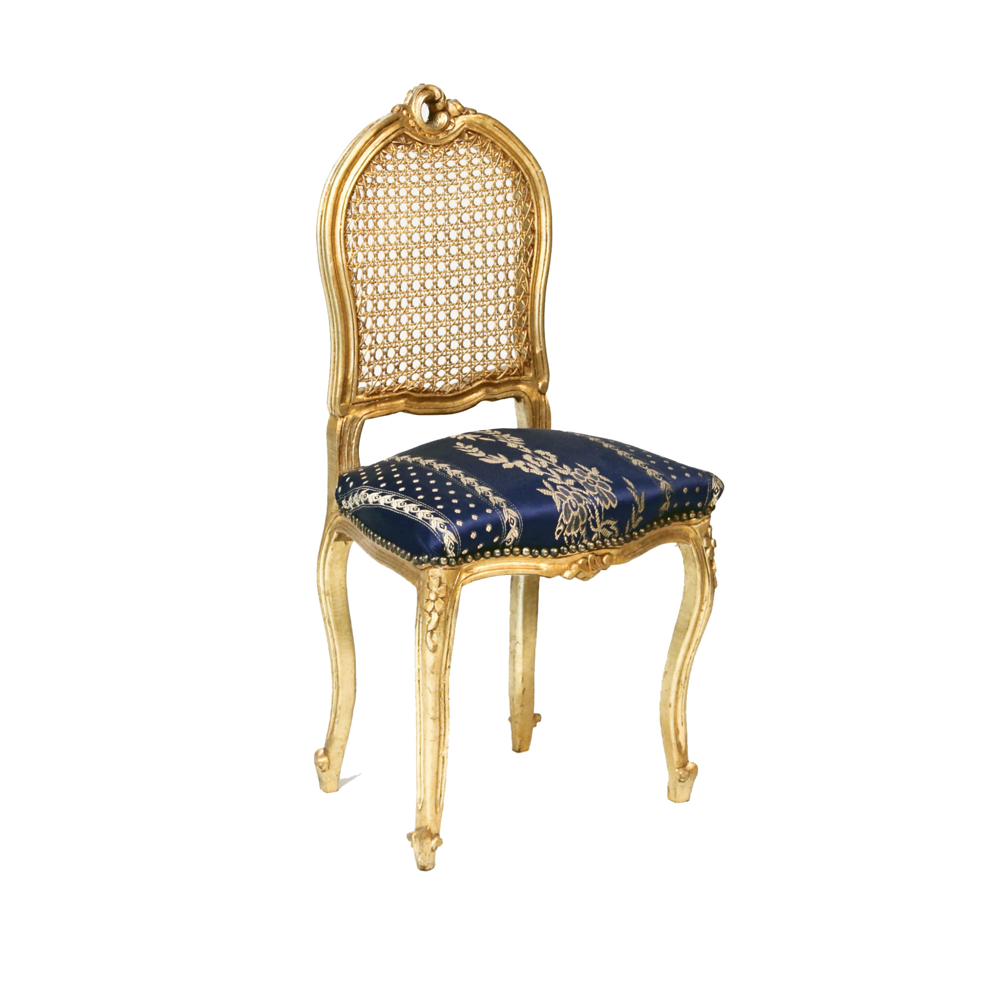Gold Accent Chairs Gold Cane Blue Seat Accent Chair Peter Corvallis Productions