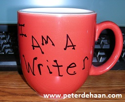 "Mug displaying ""I am a writer."""