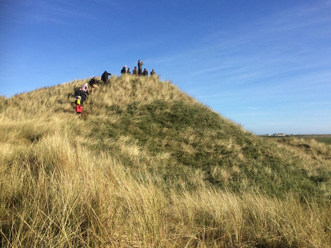 wandelaars bereiken de top van de Boschplaat op Terschelling.