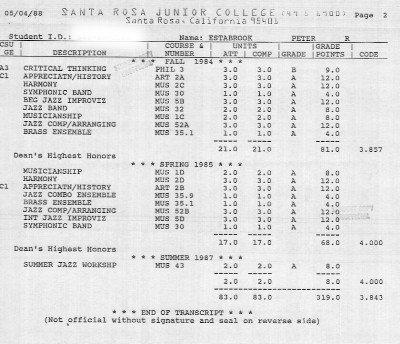 Pete Estabrook's College Transcripts