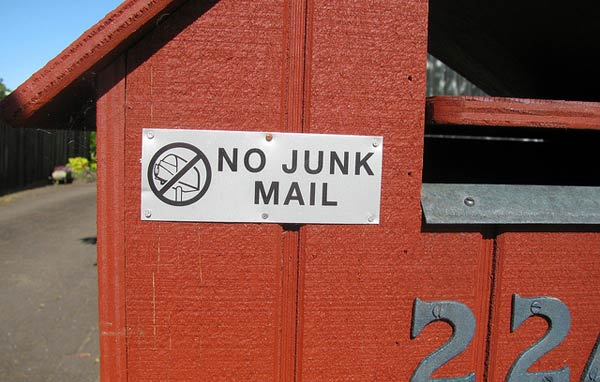 Letterbox with no junk mail sign