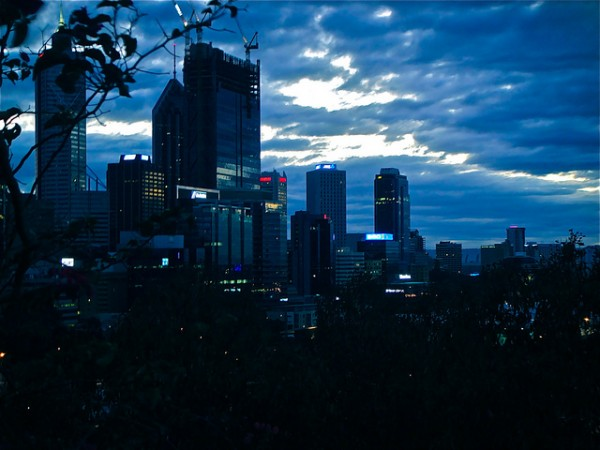 View of Perth skyline from Jacob's Ladder just after dawn