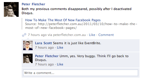 Screenshot of Facebook comments from the Facebook Comments Plugin
