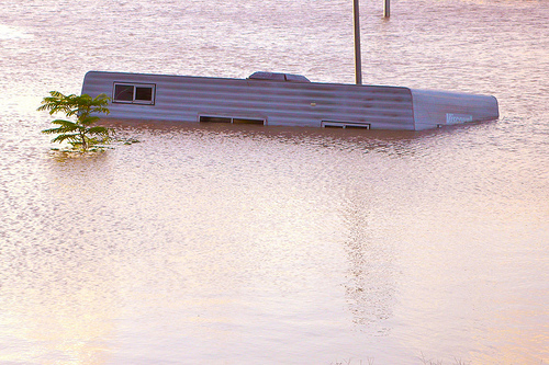 Caravan floating in Queensland flood water
