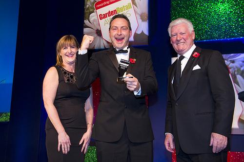 Sales award recipient celebrating