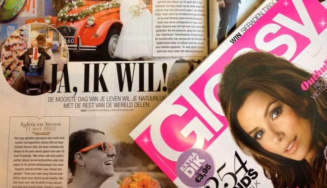 Glossy magazines on a table