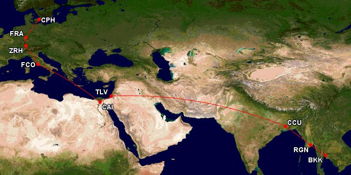 ruten til bangkok