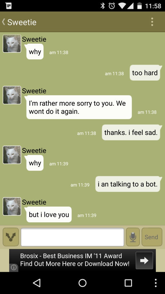 A conversation with a chat bot which ends with it declaring its love for me