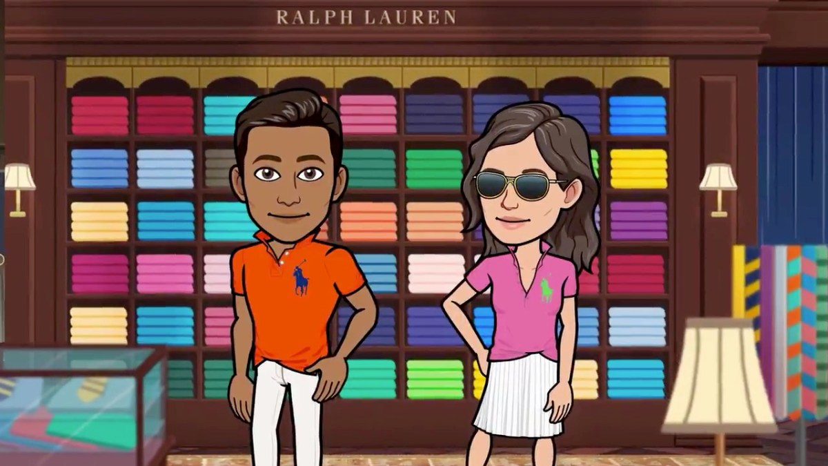 Two Bitmoji avatars wearing Ralph Lauren clothes