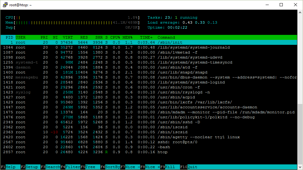 Screenshot of htop