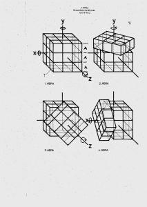 """Drawings from Hungarian patent № 170062, entitled """"Térbeli logikai játék"""" (1/4)."""