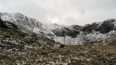 The horseshoe of Cwm Idwal with a dusting of March snow