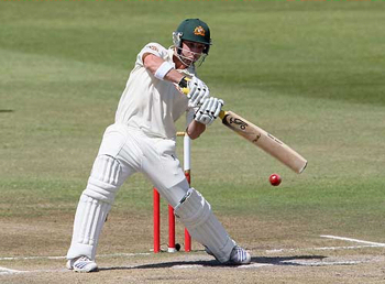 Phillip Hughes attacking the South African bowling on his way to scoring 115