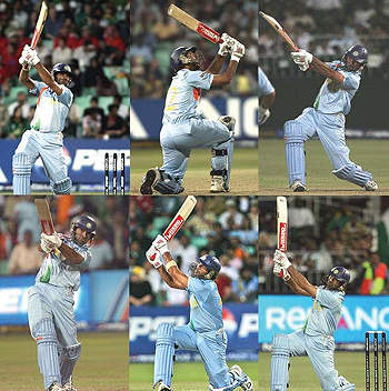Yuvraj Singh of India hits a six (the maximum score in cricket) off each of the six balls of an over - sadly against England