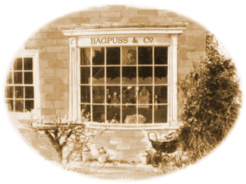 Once upon a time. Not so long ago. There was a little girl and her name was Emily. And she had a shop. There it is. It was rather an unusual shop because it didn't sell anything. You see, everything in that shop window was a thing that somebody had once lost. And Emily had found. And brought home to Bagpuss. Emily's cat Bagpuss. The most Important. The most Beautiful. The most Magical. Saggy old cloth cat in the whole wide world.