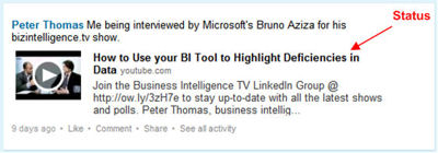 An example of what you can do with your LinkedIn status