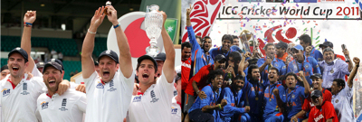 England retain The Ashes in Australia (Jan 2011) vs India win ICC World Cup (April 2011)