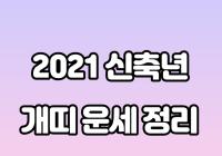 2021년 신축년 개띠 운세