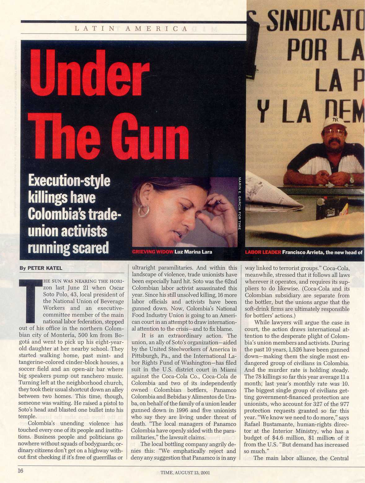 Peter Katel on Colombia Trade Unionist Executions – TIME Magazine (2001)