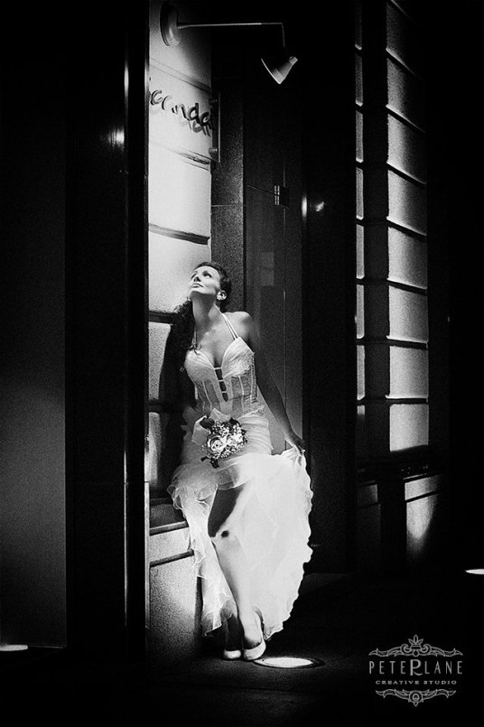 Wedding Photographer London - bride posing black and white